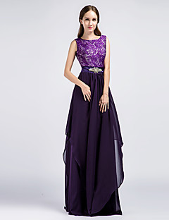 Formal Evening Dress - Grape Sheath/Column Jewel Floor-length Chiffon / Lace