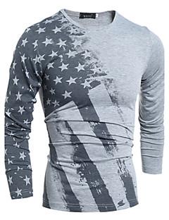 Men's Print Casual / Work / Plus Size T-ShirtCotton / Rayon Long Sleeve-White / Gray