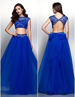 저녁 정장파티 드레스 - 로얄 블루 A라인 바닥 길이 스쿱 명주그물