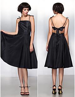 Cocktail Party Dress - Black A-line Spaghetti Straps Knee-length Taffeta