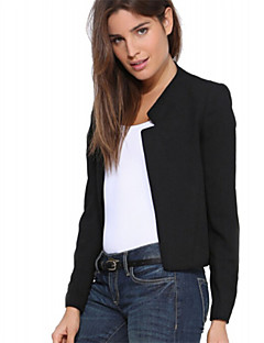 Women's Solid White/Black/Yellow Blazer , Casual Surplice Neck Long Sleeve