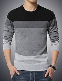Men's Casual/Daily Plus Size Regular Pullover,Striped Long Sleeve Cotton Polyester