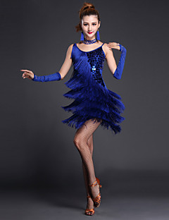 Shall We Latin Dance Dresses Women Performance Polyester / Lycra Sequins / Tassel(s) 4 Pieces