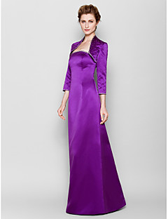 Lanting Sheath/Column Plus Sizes / Petite Mother of the Bride Dress - Grape Floor-length 3/4 Length Sleeve Satin