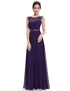 A-line Mother of the Bride Dress - Grape Floor-length Chiffon / Lace
