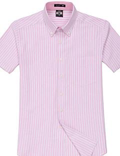 Masculino Camisa Casual / Escritório / Formal / Esporte Xadrez Manga Curta Algodão / Poliéster Rosa / Branco