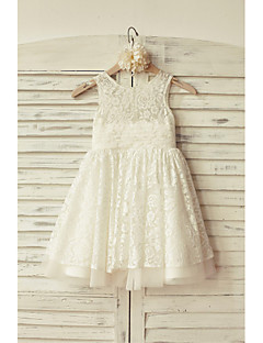 Flower Girl Dress A-line Knee-length - Lace / Tulle Sleeveless Scoop