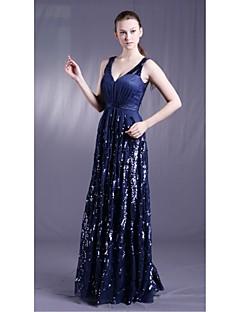 저녁 정장파티 드레스 - 오션 블루 시스/컬럼 바닥 길이 V넥 명주그물 / 엘라스틱 우븐 사틴 / 반짝이