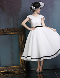 Dress - White Ball Gown V-neck Tea-length Lace/Spandex