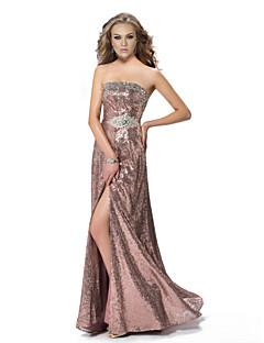 Fiesta formal Vestido - Rosa Caramelo Corte A Hasta el Suelo - Strapless Con lentejuelas