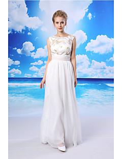 vaina / columna vestido de noche formal - blanco palabra de longitud gasa joya / cordón