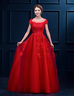 Formal Evening Dress - Ruby / White A-line Scoop Floor-length Lace