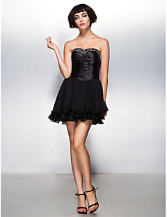 ts couture® cocktail party dress a-lijn geliefde korte / mini chiffon / stretch satijn met kralen / criss cross