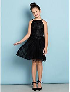 Lanting Bride® Knee-length Lace Junior Bridesmaid Dress A-line Spaghetti Straps with Lace