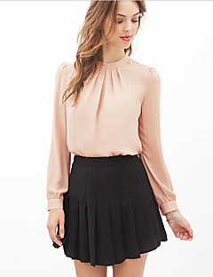 Women's Formal Simple Fall Blouse,Solid Round Neck Long Sleeve Pink / Black Sheer