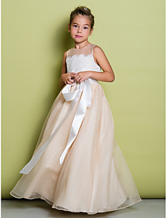 A-line Floor-length Flower Girl Dress - Lace / Organza Sleeveless