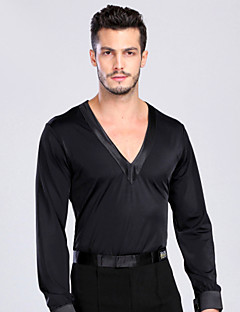 Latin Dance Tops Men's Performance / Training Spandex Buttons 1 Piece Black Latin Dance Spring, Fall, Winter, Summer Long Sleeve Top