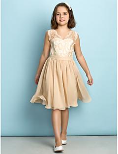 Lanting Bride Knelang Blonder Junior brudepikekjole - Mini-me A-linje V-hals med Blonder
