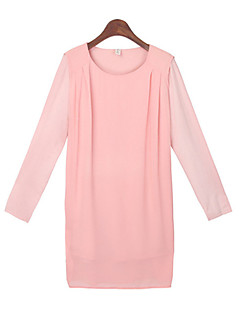 Women's Solid Color Pink Tops & Blouses , Casual Round Long Sleeve