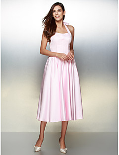 A-Line Halter Tea Length Satin Prom Formal Evening Dress with Bow(s) by TS Couture®