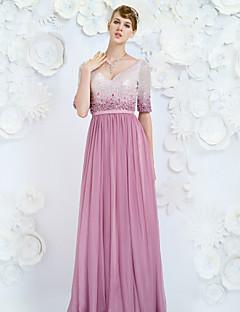 Formal Evening Dress - Lilac A-line V-neck Floor-length Chiffon