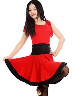 Dança Latina Vestidos e Saias Mulheres Actuação / Treino Náilon Chinês / Elastano / Poliéster Pano 1 Peça Sem Mangas Vestidos