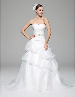 A-line Wedding Dress - White Chapel Train Sweetheart Organza