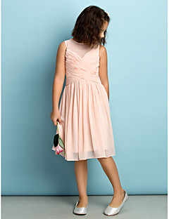 Lanting Bride Knee-length Chiffon Junior Bridesmaid Dress - Mini Me A-line Jewel with Criss Cross