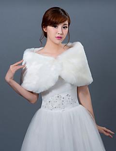 כורכת חתונה / עליונית מפרווה בולרו בלי שרוולים דמוי פרווה לבן חתונה Off-the-shoulder / קצה מסולסל אבזם נסתר