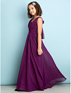 Lanting Bride® Floor-length Chiffon Junior Bridesmaid Dress - Mini Me A-line V-neck with Criss Cross