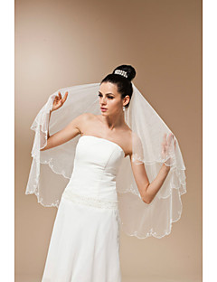 New High-grade Bride Wedding Handmade Beaded Veil Two-tier Fingertip Veils Beaded Edge
