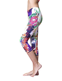Queen Yoga בגדי ריקוד נשים טייץ לריצה ייבוש מהיר חומרים קלים 3/4 טייץ מכנסיים תחתיות ל יוגה פילאטיס כושר גופני כותנה טרילן S M L
