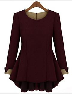 Γυναικεία T-shirt Καθημερινά Απλό Μονόχρωμο,Μακρυμάνικο Στρογγυλή Λαιμόκοψη Φθινόπωρο Μεσαίου Πάχους Πολυεστέρας Κόκκινο / Μπεζ / Μαύρο