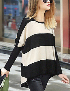 Women's Striped Black Pullover , Casual Long Sleeve