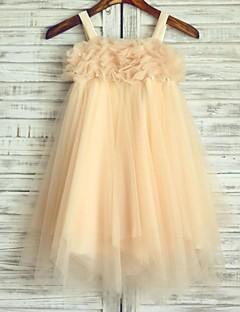 A-line Tea-length Flower Girl Dress - Tulle Sleeveless Spaghetti Straps with
