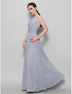 Lanting Bride® Ankle-length Georgette Bridesmaid Dress - A-line Scoop with Draping / Ruching