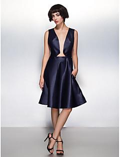 Cocktail Party Dress A-line V-neck Knee-length Satin Dress