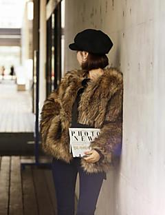 Feminino Casaco de Pêlo Para Noite / Festa/Coquetel Moda de Rua Inverno, Sólido Marrom Pêlo Sintético Decote Redondo-Manga Longa Grossa