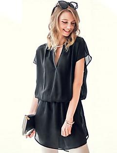 여성의 솔리드 V 넥 짧은 소매 블라우스,심플 캐쥬얼/데일리 블랙 여름 중간