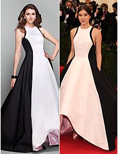 Formal Evening Dress - Ivory Plus Sizes / Petite A-line / Princess Jewel Asymmetrical Taffeta