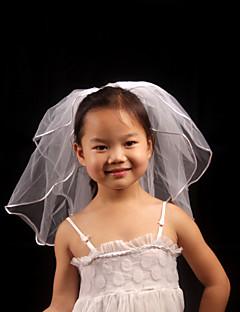 הינומות חתונה שתי שכבות הינומות לילדות קצה עפרון טול לבן לבן / שנהב
