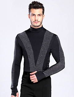 Latin Dance Tops Men's Performance / Training Spandex Buttons 1 Piece Black Latin Dance Long Sleeve Top