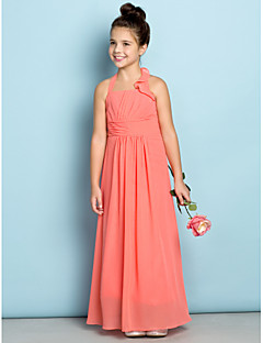 Lanting Bride® Ankle-length Chiffon Junior Bridesmaid Dress - Mini Me Sheath / Column Halter with Side Draping