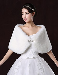 Wedding  Wraps / Fur Wraps Shrugs Sleeveless Faux Fur White / Ruby Wedding / Party/Evening Bateau Button Clasp