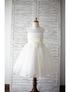 Vestido de menina de flor de joelho com uma linha de joias - gola de jóias sem molas com flor por thstylee