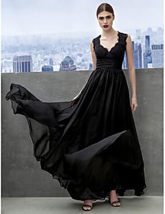 A-Linie Sweetheart Boden-Länge Chiffon Formeller Abend Gala Kleid mit Spitze Überkreuzte Rüschen durch TS Couture®