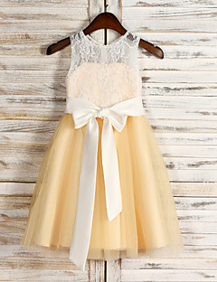 Flower Girl Dress Tea-length Tulle/Sequined A-line Sleeveless Dress