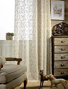 2パネル現代の葉の刺繍コットンリネンは、薄手のカーテンのカーテンをブレンド