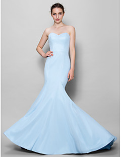 Mermaid / Trumpet Sweetheart Floor Length Chiffon Bridesmaid Dress with Pleats by LAN TING BRIDE®