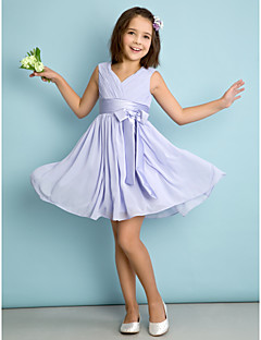 A-linje V-hals - Lavendel Knelengde Chiffon Junior brudepikekjole